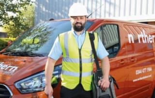 Engineer with van