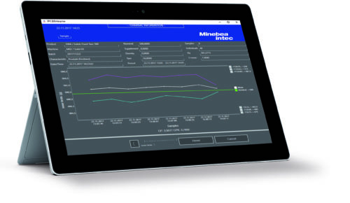 A tablet with data image from Minebea Intec SPC@Enterprise software.